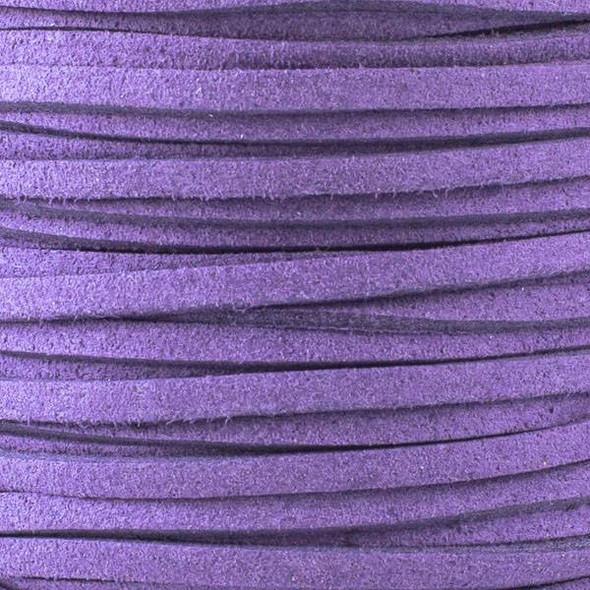 Dark Plum Purple Microsuede 1.5mm Thick, 2mm Wide Flat Cord - 25 yard spool