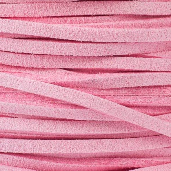 Pink Microsuede 1.5mm Thick, 2mm Wide Flat Cord - 1 yard