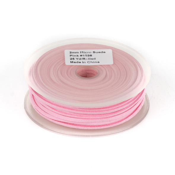 Pink Microsuede 1.5mm Thick, 2mm Wide Flat Cord - 25 yard spool