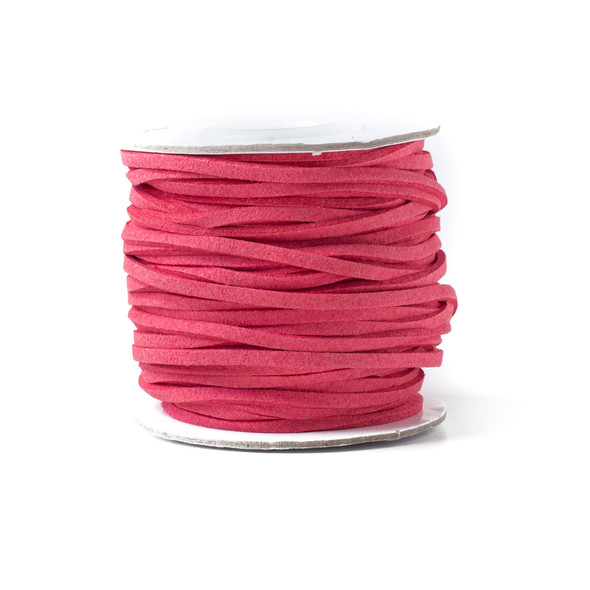 Pink Hibiscus Microsuede 1.5mm Thick, 2mm Wide Flat Cord - 100 yard spool