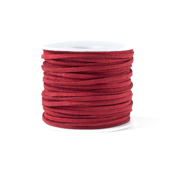Red Microsuede 1.5mm Thick, 2mm Wide Flat Cord - 100 yard spool