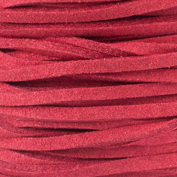Red Microsuede 1.5mm Thick, 2mm Wide Flat Cord - 1 yard