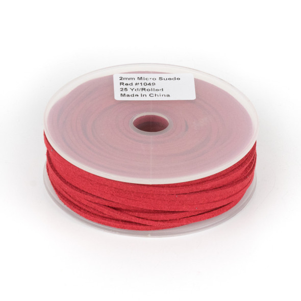 Red Microsuede 1.5mm Thick, 2mm Wide Flat Cord - 25 yard spool