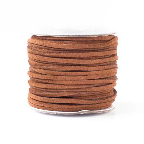 Sienna Brown Microsuede 1.5mm Thick, 2mm Wide Flat Cord - 100 yard spool