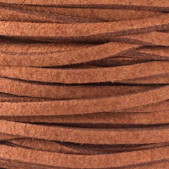 Sienna Brown Microsuede 1.5mm Thick, 2mm Wide Flat Cord - 1 yard