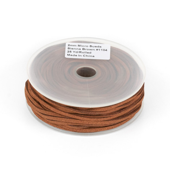 Sienna Brown Microsuede 1.5mm Thick, 2mm Wide Flat Cord - 25 yard spool