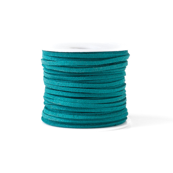 Turquoise Green Microsuede 1.5mm Thick, 2mm Wide Flat Cord - 100 yard spool