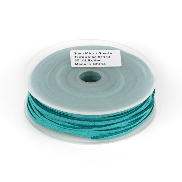 Turquoise Green Microsuede 1.5mm Thick, 2mm Wide Flat Cord - 25 yard spool