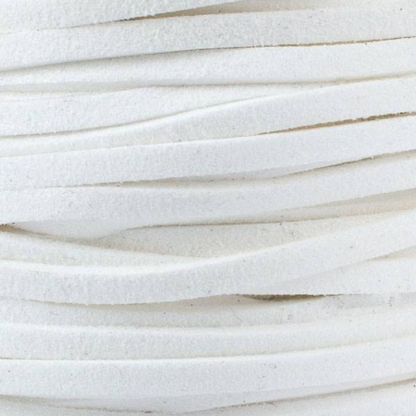 White Microsuede 1.5mm Thick, 2mm Wide Flat Cord - 25 yard spool