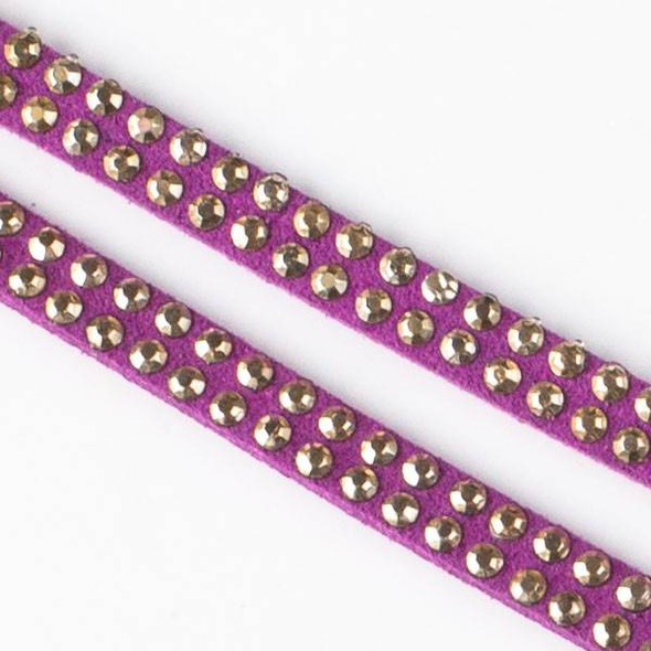 5mm Magenta Pink Microsuede with Double Rows of 2mm Studs - 1 meter