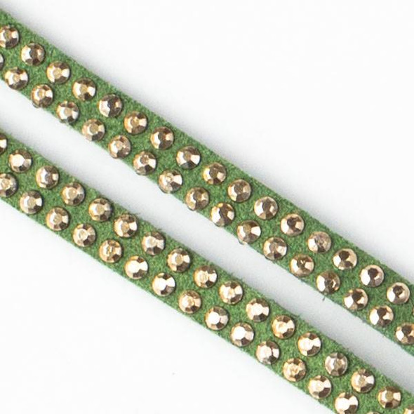 5mm Olive Green Microsuede with Double Rows of 2mm Studs - 1 meter