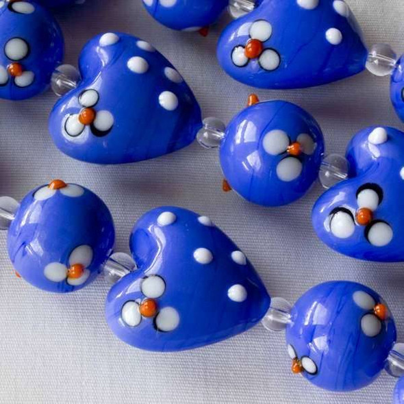Handmade Lampwork 20mm Blue Violet Hearts alt with 14mm Blue Violet Rounds, both with White and Orange Flowers and Bumpy White Dots - 4 inch