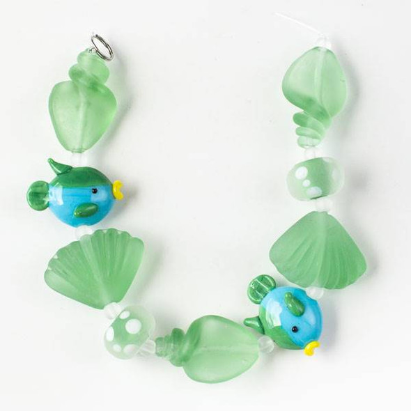 Handmade Lampwork Glass Beach Collection - Aqua Blue and Green Fish with Matte Green Shells and Rondelles
