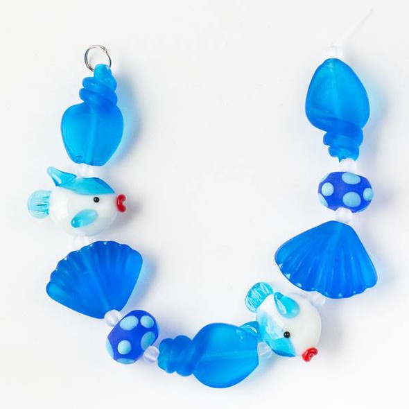 Handmade Lampwork Glass Beach Collection - Bright Blue and White Fish with Matte Bright Blue Shells and Rondelles