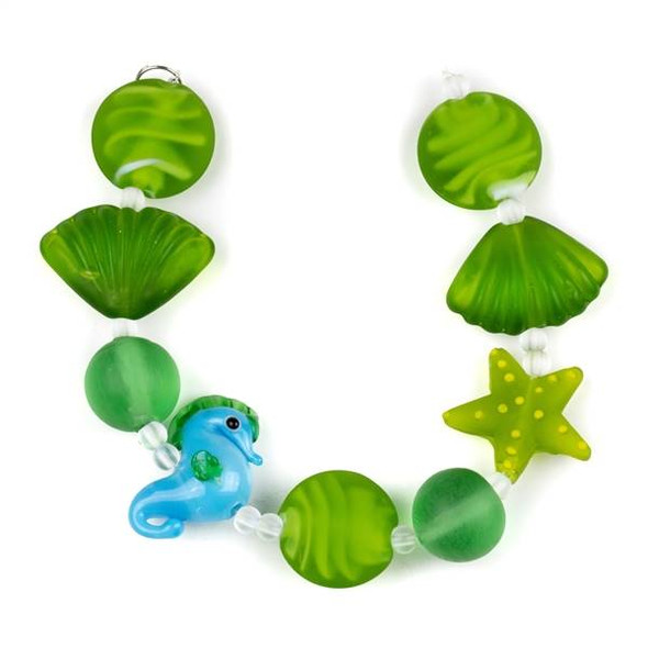 Handmade Lampwork Glass Beach Collection - Matte Seaweed Green and Aqua Seahorse, Starfish, Coin, and Shell Mix