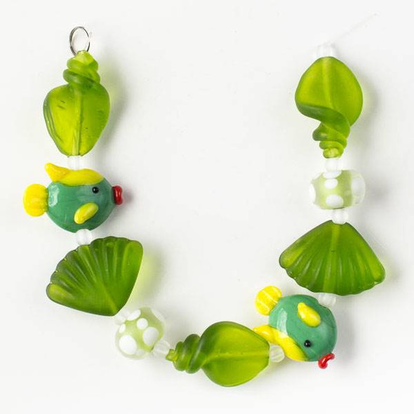 Handmade Lampwork Glass Beach Collection - Yellow and Green Fish with Matte Seaweed Green Shells and Rondelles