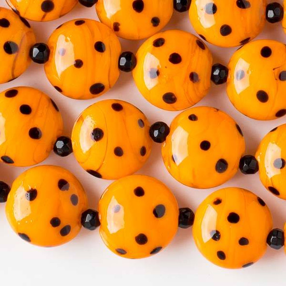 Handmade Lampwork Glass 16mm Orange Coin Beads with Black Dots