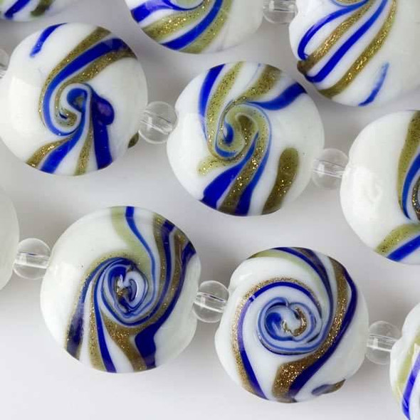 Handmade Lampwork Glass 16mm White Coin with Cobalt Blue and Gold Foil Swirls