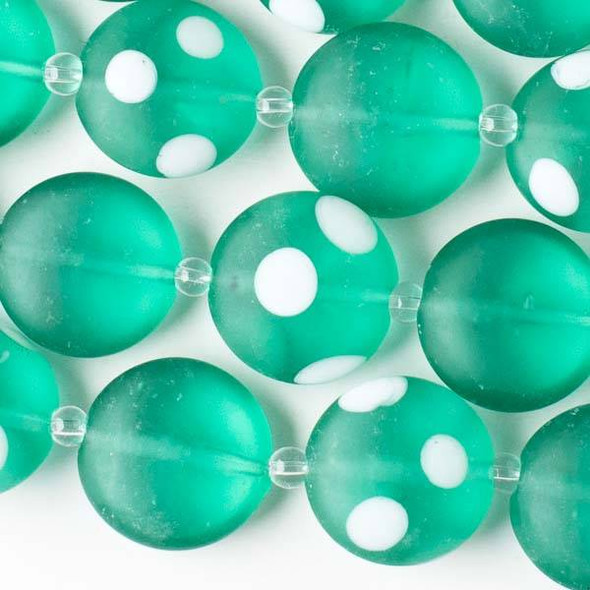Handmade Lampwork Glass 20mm Matte Spearmint Green Coin Beads alternating with Coin Beads with White Dots