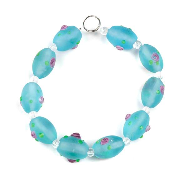 Handmade Lampwork Glass 11x16mm Matte Light Blue Egg Beads with Pink Rose Flowers