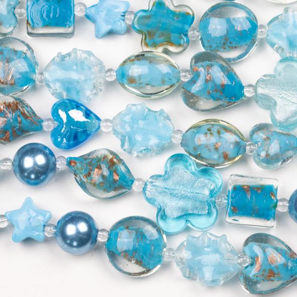 Mixed Handmade Lampwork Glass Strand - Light Aqua Blue Mix