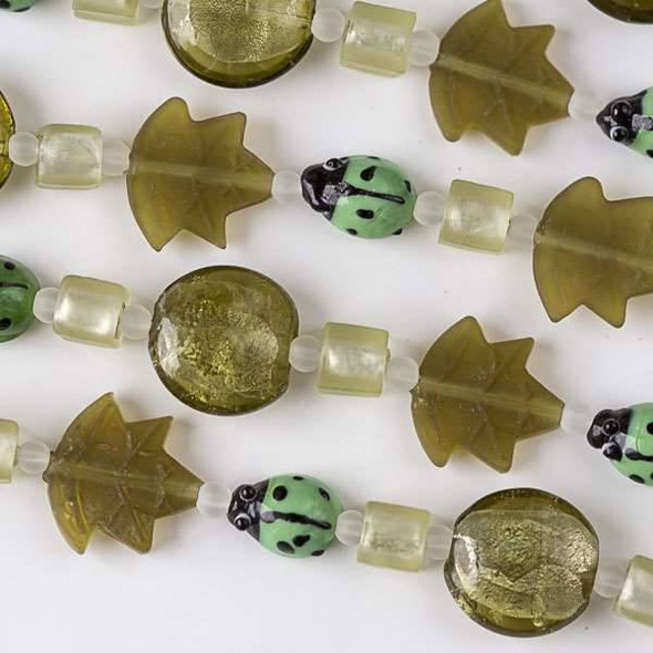 Handmade Lampwork Glass Nature Collection - Green Ladybug with Matte Gold Leaf, Cube, and Coin Mix