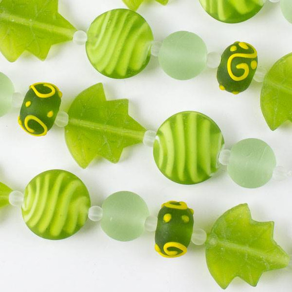 Handmade Lampwork Glass Nature Collection - Matte Lime Green Mix with Leaf, Coin, Rondelle, and Round