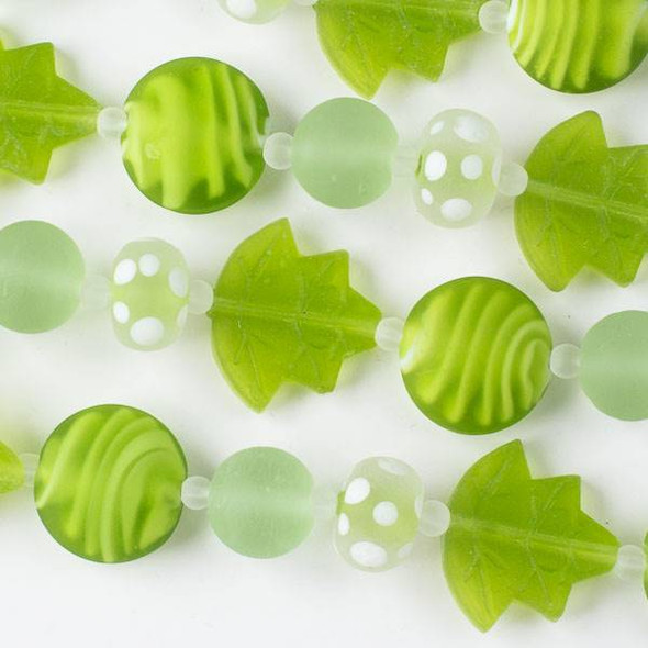 Handmade Lampwork Glass Nature Collection - Matte Lime and Light Green Mix with Leaf, Coin, Rondelle, and Round