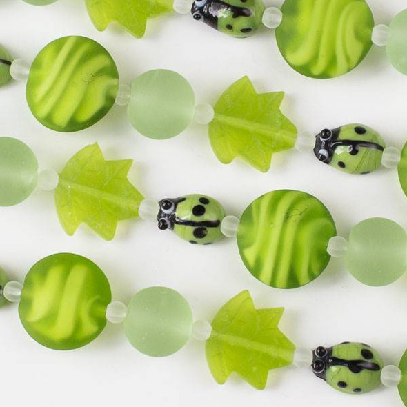 Handmade Lampwork Glass Nature Collection - Lime Green Mix with Ladybug, Matte Leaf, Coin, and Round