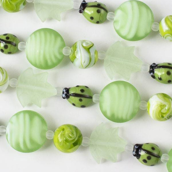 Handmade Lampwork Glass Nature Collection - Light Green Ladybug Mix with Leaf, Matte Coin, and Matte Round