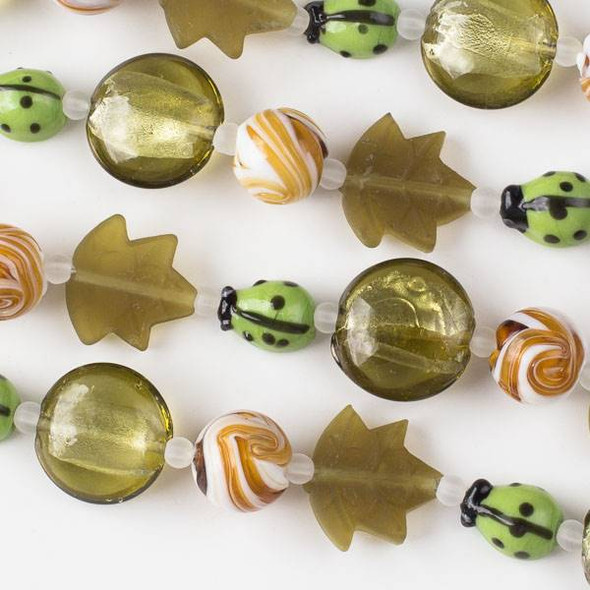 Handmade Lampwork Glass Nature Collection - Light Green Ladybug and Matte Olive Green Mix with Leaf, Coin, and Topaz Round