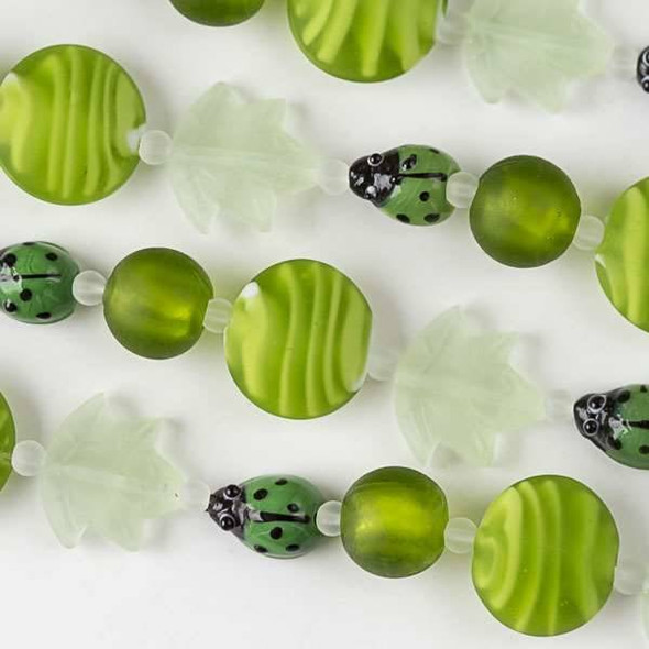 Handmade Lampwork Glass Nature Collection - Green Ladybug, Matte Mint Green Leaf, and Matte Lime Green Coin Mix