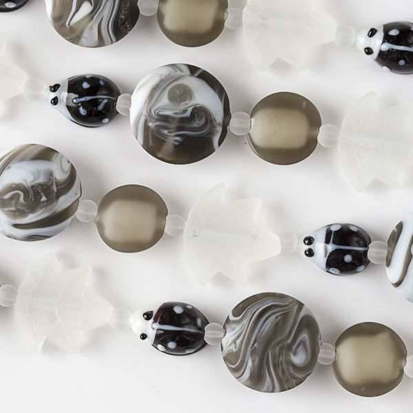 Handmade Lampwork Glass Nature Collection - Black Ladybug, Matte White Leaf, and Matte Grey Coin Mix