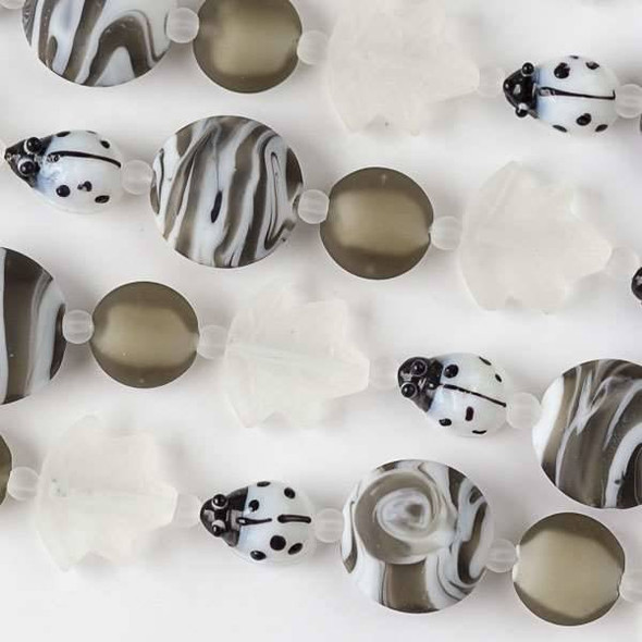 Handmade Lampwork Glass Nature Collection - White Ladybug, Matte White Leaf, and Matte Grey Coin Mix