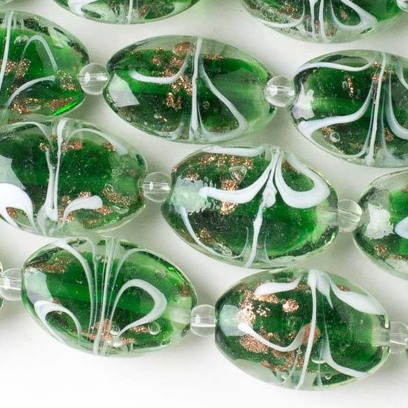 Handmade Lampwork Glass 17x23mm Green Oval Beads with Gold Glitter and White Ribbons