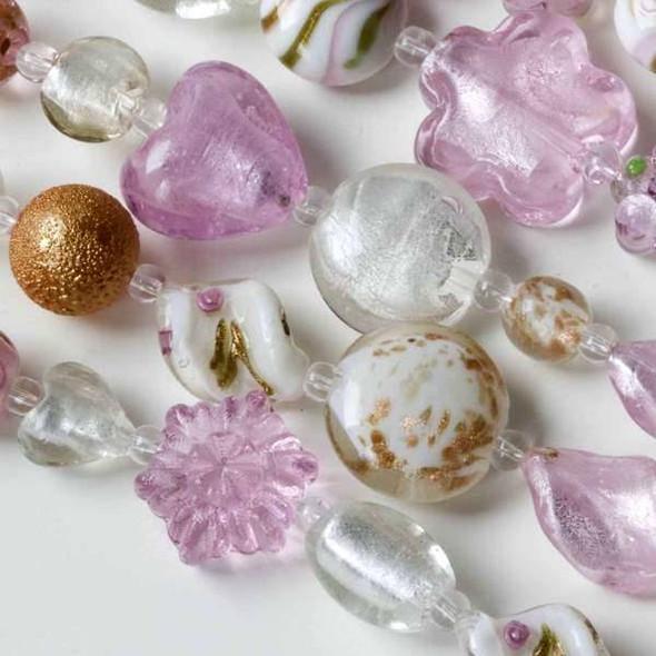 Mixed Handmade Lampwork Glass Strand - Pink and White Mix
