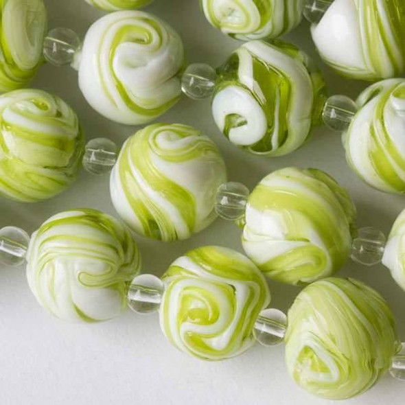 Handmade Lampwork Glass 14mm Lime Green and White Swirled Round