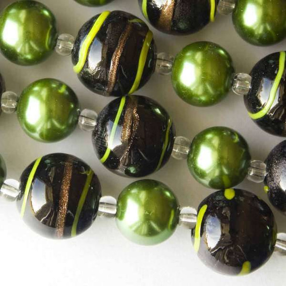 Handmade Lampwork Glass 12mm Black Rounds with Yellow and Gold Stripes alternating with 12mm Emerald Green Glass Pearls