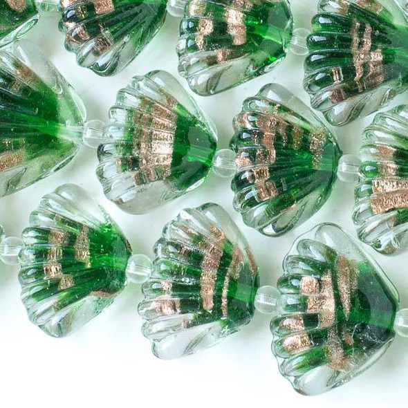 Handmade Lampwork Glass 19x25mm Shells with Emerald Green Center and Gold Foil