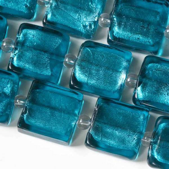 Handmade Lampwork Glass 15mm Teal Square with a Silver Foil Center
