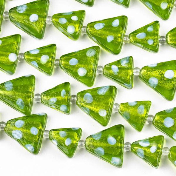 Handmade Lampwork Glass Christmas Strand with 20x22mm and 15x17mm Peridot Green Triangle Trees with White Snow Dots