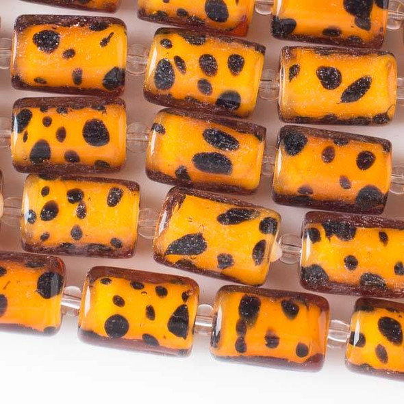 Handmade Lampwork Glass 11x16mm Cheetah Print Tube Beads