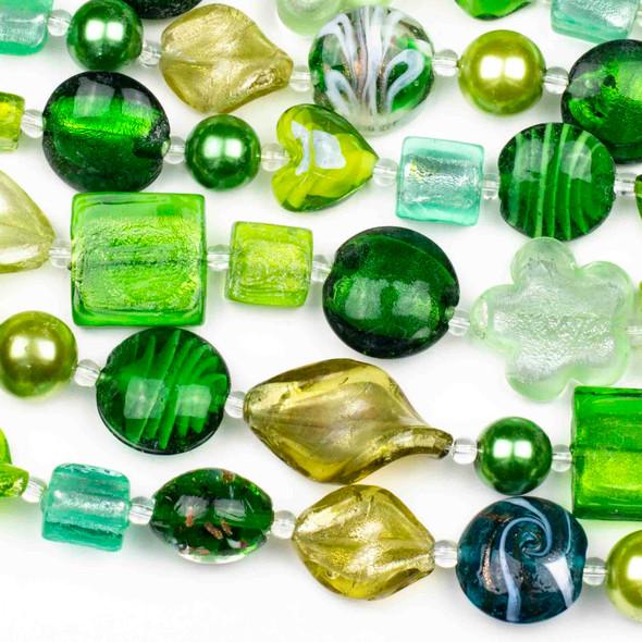 Mixed Handmade Lampwork Glass Strand - Christmas Green Mix