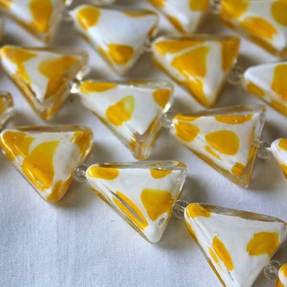 Handmade Lampwork Glass 21mm Triangles White with Canary Yellow Dots