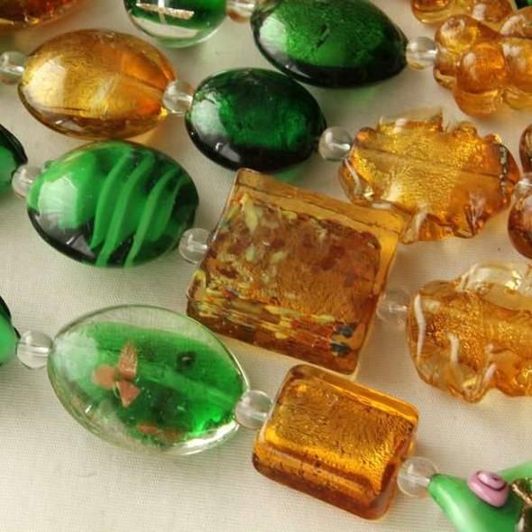Mixed Handmade Lampwork Glass Strand - Amber and Green Mix