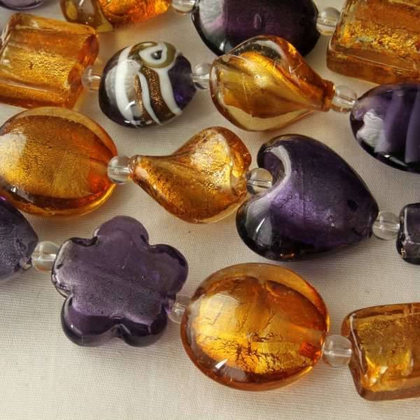Mixed Handmade Lampwork Glass Strand - Amber and Lilac Purple Mix
