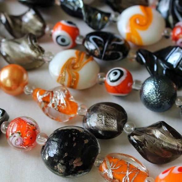 Mixed Handmade Lampwork Glass Strand - Orange, Black, and Grey/Silver Mix