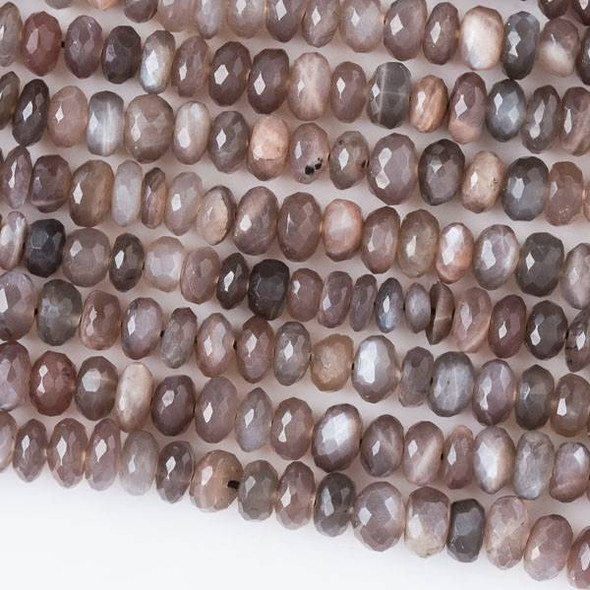 Mystic Chocolate Moonstone 2-4 Faceted Irregular Rondelle Beads - 13 inch strand