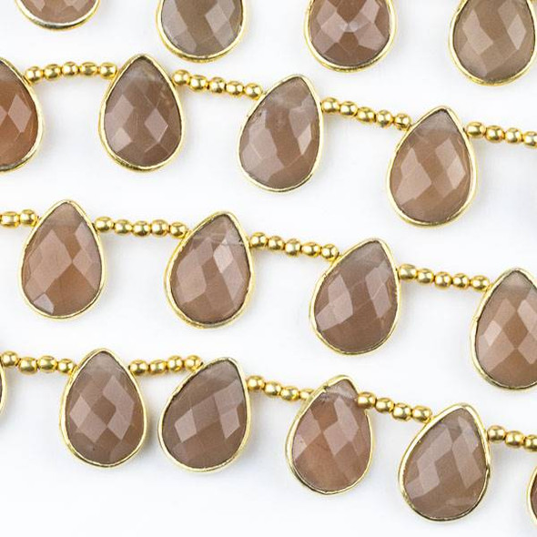 Mystic Chocolate Moonstone 10x14mm Top Drilled Faceted Teardrop Beads with Gold Plated Bezel - 8 inch strand with spacer beads