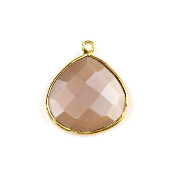 Mystic Swiss Chocolate Moonstone approximately 21x24mm Faceted Almond Drop with a Gold Plated Brass Bezel
